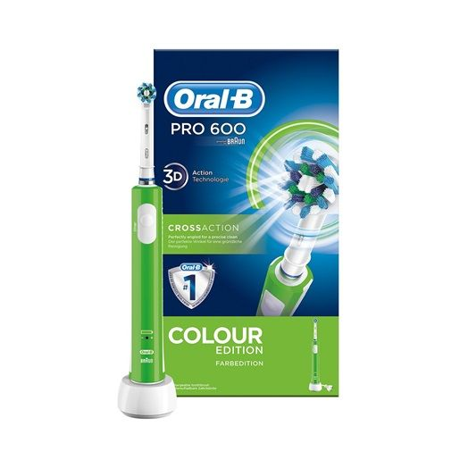 Oral-B Pro 600 CrossAction Colour Edition Electric Toothbrush Rechargeable Green