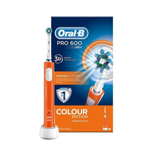Oral-B Cross Action Pro 600 Colour Edition Electric Toothbrush Rechargeable Orange