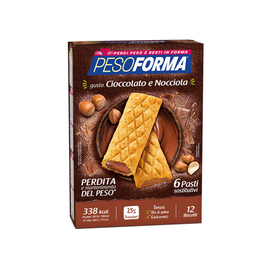 Pesoforma Replacement Meal Biscuit Chocolate and Hazelnut 12 Cookies