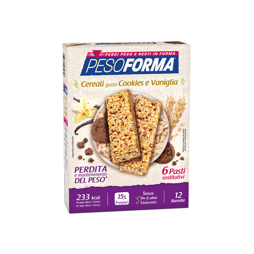 Pesoforma Substitutive Bar Cereal Bars Flavors Cookies and Vanilla 6 Bars
