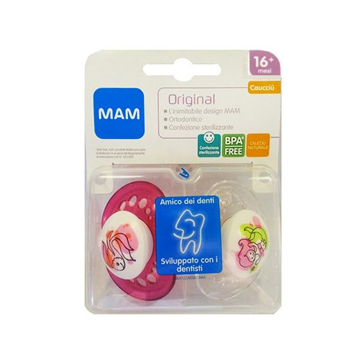 Original 16+ MAM Rubber 2 Soothers Pink