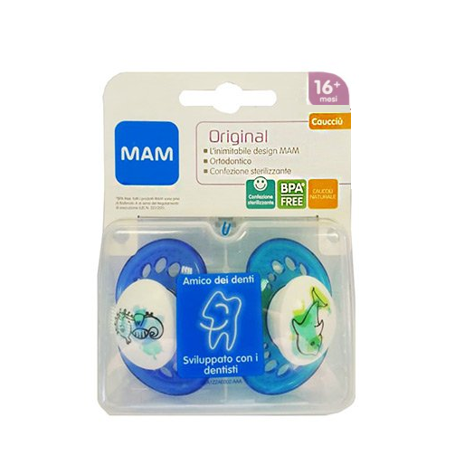 Original 16+ Rubber MAM 2 Soothers Blue