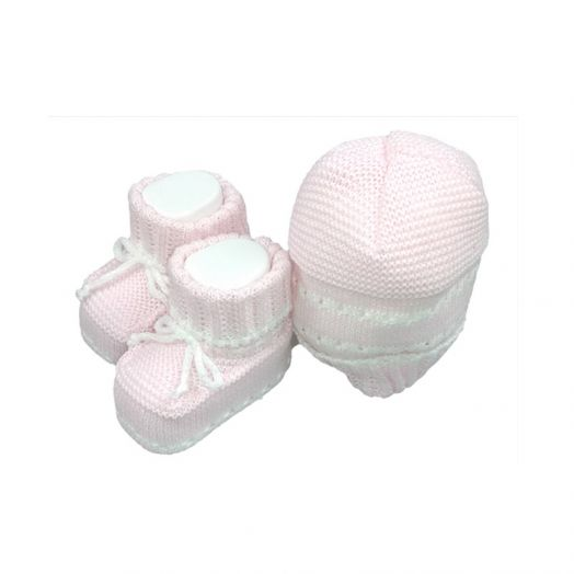 Set 2pcs hat hat shoes cotton La Rocca baby girl pink TU
