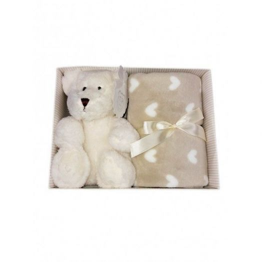 Set 2pcs gift box cover blanket baby carriage pram hearts with plush baby girl newborn baby T & R cream beige stars TU