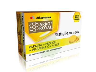 Arko Royal Papain + Propolis + Vit C + Altea Food Supplement 24 Tablets For  The Throat